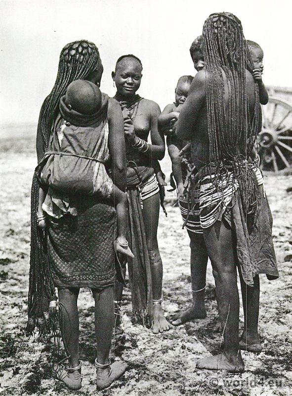 African tribe Ovambo women, Ondonga S.W. Africa.