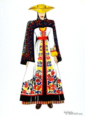 Traditional Latin American folk dress. Peru female costume