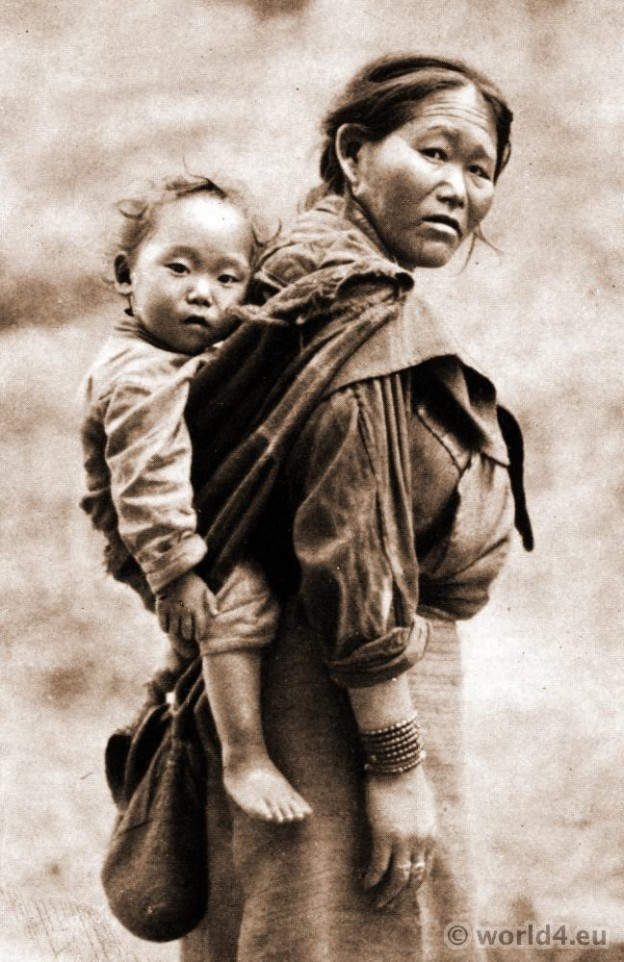 Bhutia Beggar. Woman and Child.