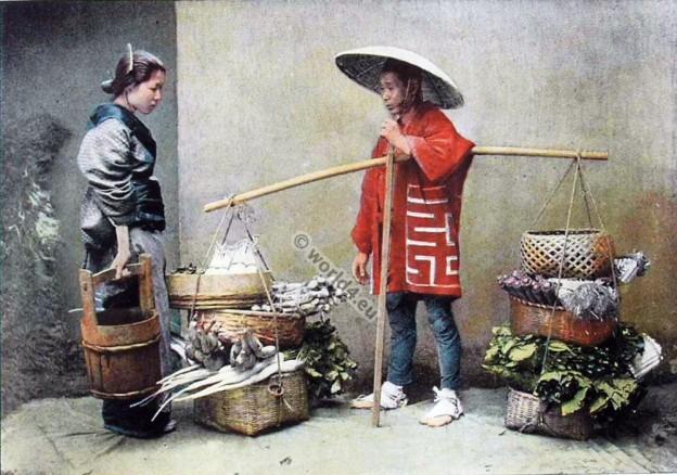 old fashioned kimono costume. Un Marchand de Légumes au Japon. A Merchant of Vegetables in Japan.