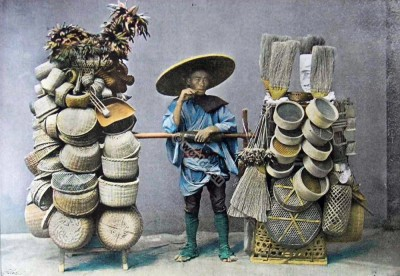 Japanese Seller of basketry. Traditional Japan costumes. Old japanese dress.