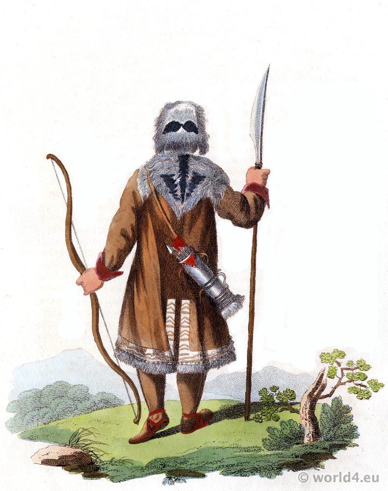 Yakut in hunting costume. Traditional russia folk costume. Edward Harding. Costume of the Russian empire