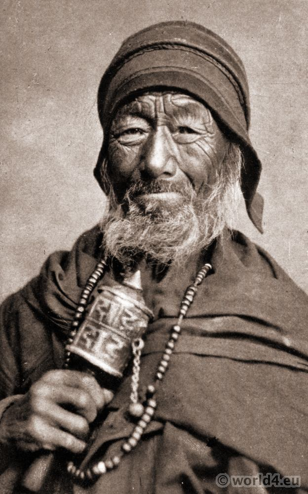 A Tibetan Lama with Prayer Wheel. J. Burlington Smith. Darjeeling India.