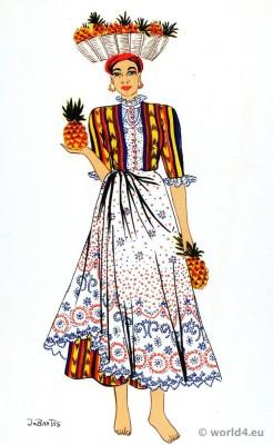 Venezuela traditional female costume. South american folk dress. Jo Bartas.