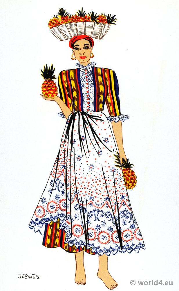 Venezuela traditional female costume. South american folk dress. Jo Bartas.