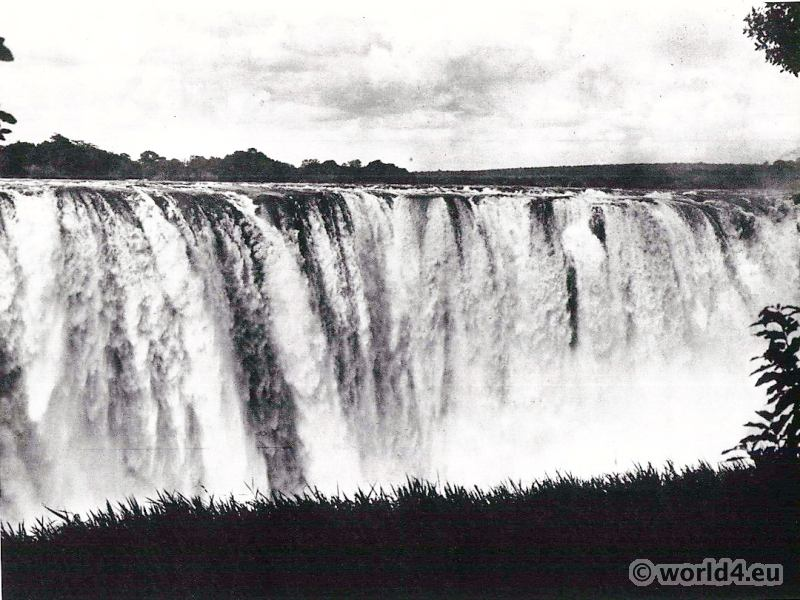 African landscape. Victoria Falls of the river Zambezi.