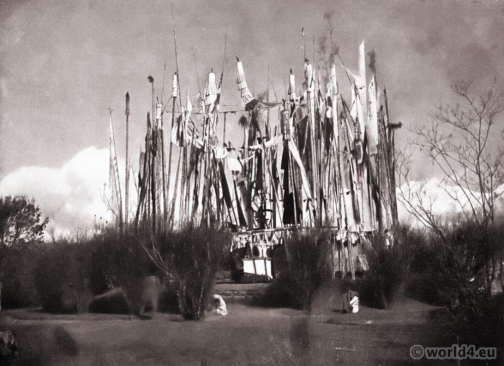 Prayer Flags. Shrine of Mahakal. Darjeeling India. View on Himalaya. J. Burlington Smith.