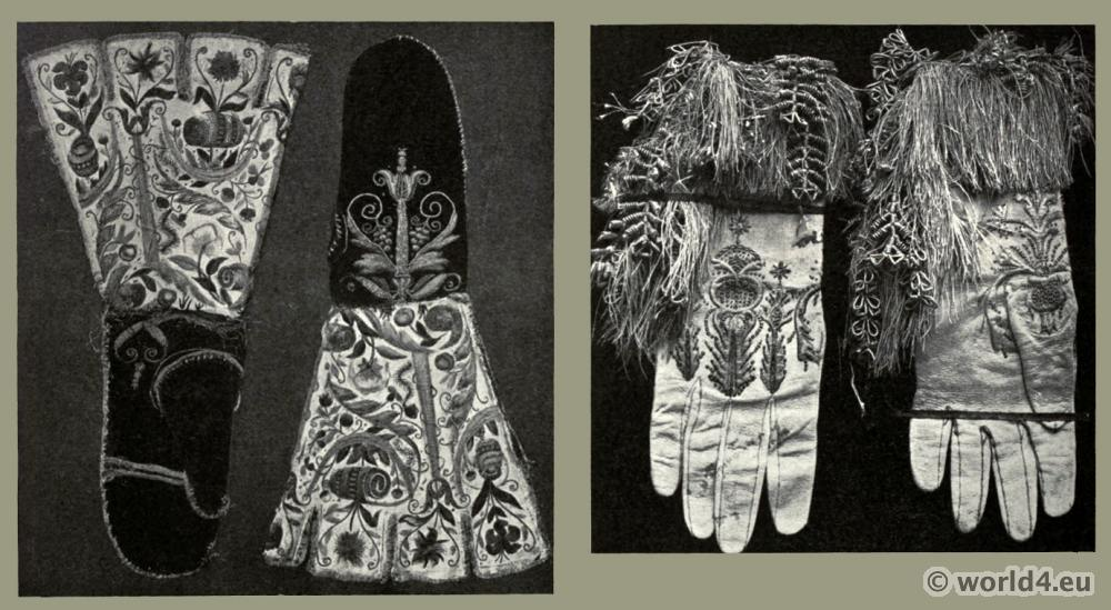 gauntlets, Gloves, Embroidery, fashion, middle ages