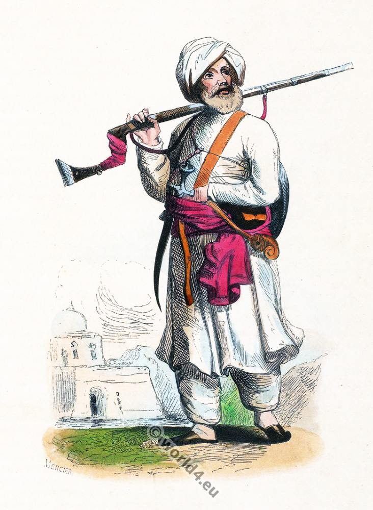 Afghan, soldier, clothing, dress, Asia, costumes, Auguste Wahlen