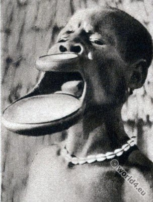 Traditional Africa tribals piercing. African Sara women lip plate.