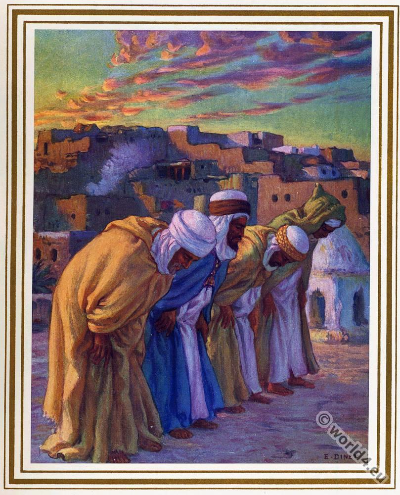 Ar-Rifa' min Ar-Ruku'. Traditional Arabian muslim prayer costumes.