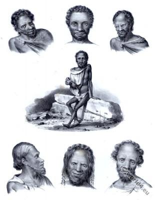 Traditional Types of Australian aborigines costumes. Ocenanien tribal clothing