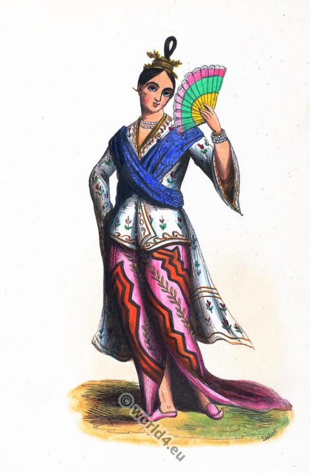 Noble, Burmese, clothing, dress, Asia, costumes, Auguste Wahlen