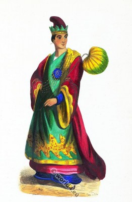 Noble Burmese male costume. Traditional Myanmar clothing. Asian dress