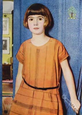 Children fashion 1924.  Arthur E. Vokes. Portrait Nina, Water color