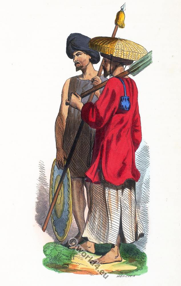 Soldiers, Vietnam, Cochinchinois, clothing, dress, Asia, costumes, Auguste Wahlen