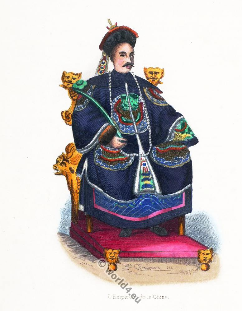 Emperor, Chinese, China, clothing, dress, Asia, costumes, Auguste Wahlen