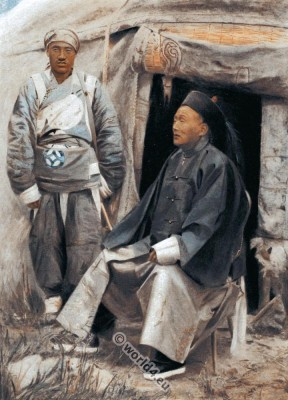Traditional Chinese Governor costume. The Taotai of Kashgar. Ancient Chinese soldier.