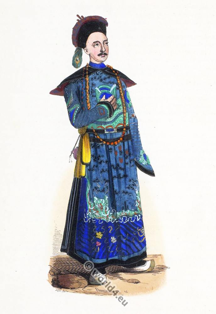 Chinese, Mandarin, China, clothing, dress, Asia, costumes, Auguste Wahlen