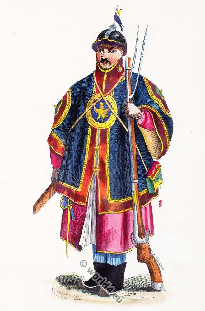 Chinese, China, soldier, clothing, dress, Asia, costumes, Auguste Wahlen