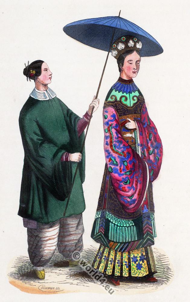 Chinese lady, clothing, dress, Asia, costumes, Auguste Wahlen
