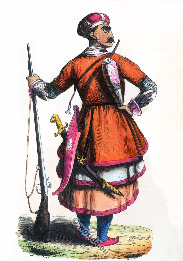 caucasian, Circassian, soldier, clothing, dress, Asia, costumes, Auguste Wahlen