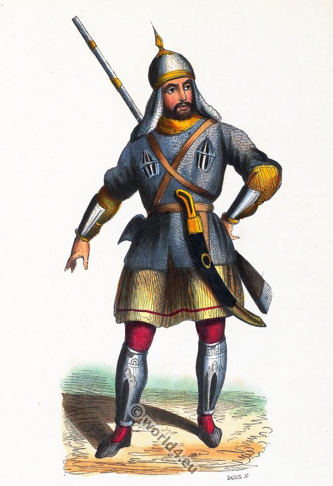 Caucasian, Circassien, soldier, clothing, dress, Asia, costumes, Auguste Wahlen
