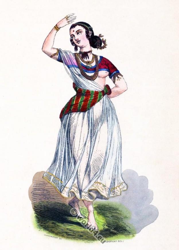 Devadasi, Jogini, Hindustan, India, clothing, dress, Asia, costumes, Auguste Wahlen