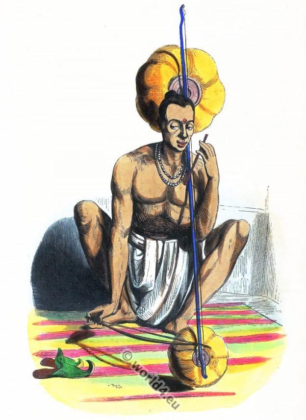 Dhoti, tambura, Pennak, Hindu, India, clothing, dress, Asia, costumes, Auguste Wahlen