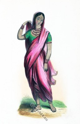 Young Hindu girl clothing. Traditional India sari costume. Asian upper class clothing