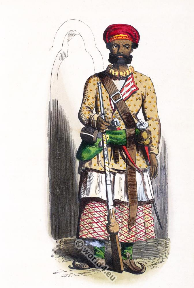 Sub-officer, Sepoy officer, Cipahys, Hindustan, India, clothing, dress, Asia, costumes, Auguste Wahlen