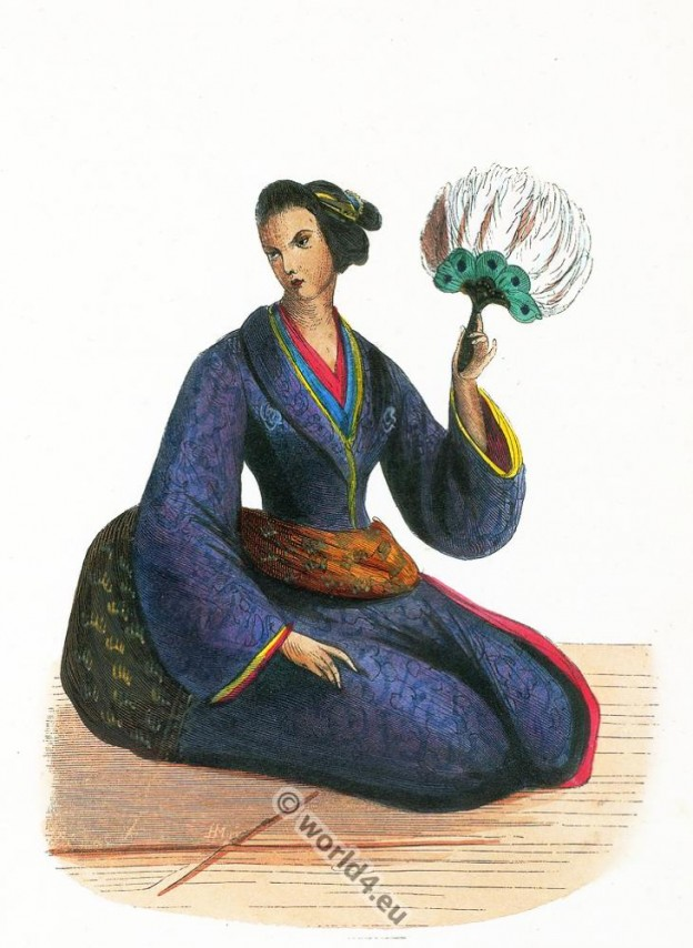 Japanese lady, Japan, Asia, costumes, Auguste Wahlen