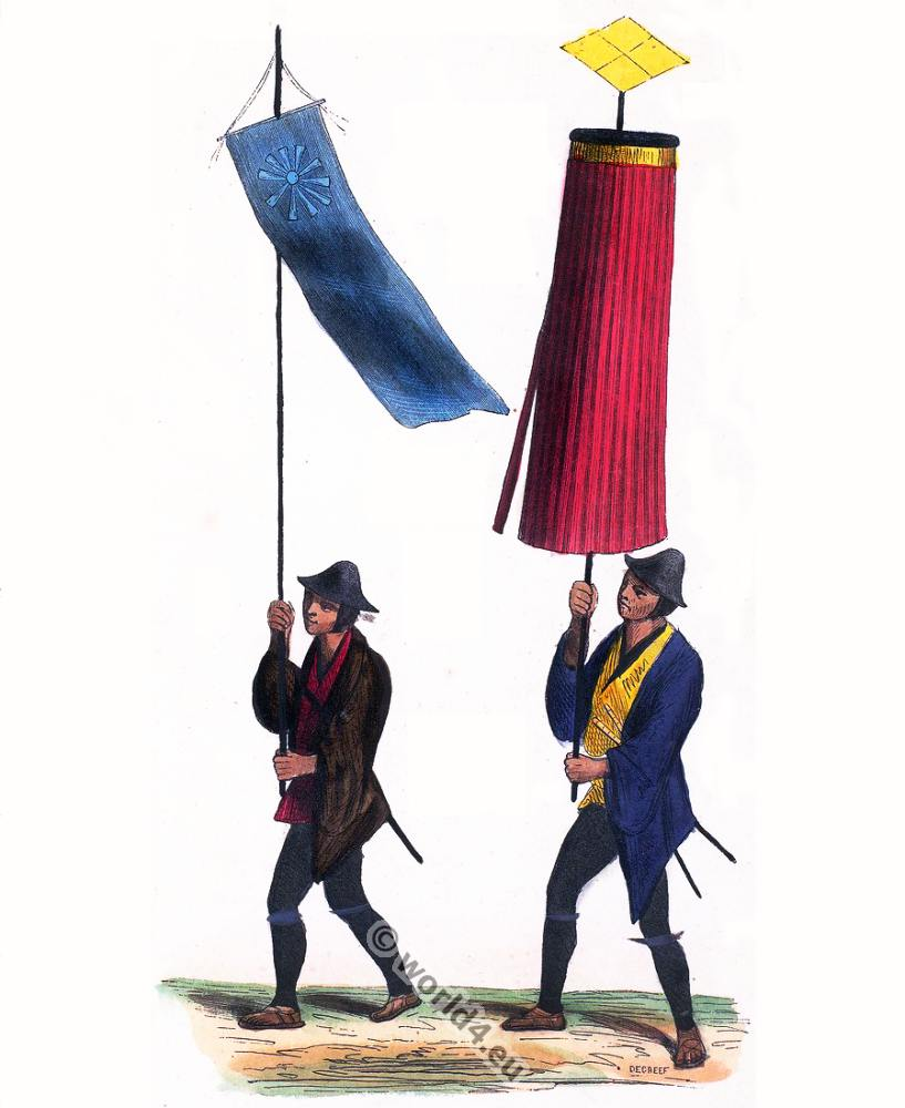 Japanese Parasol, standard bearer, Japan, Asia, costumes, Auguste Wahlen
