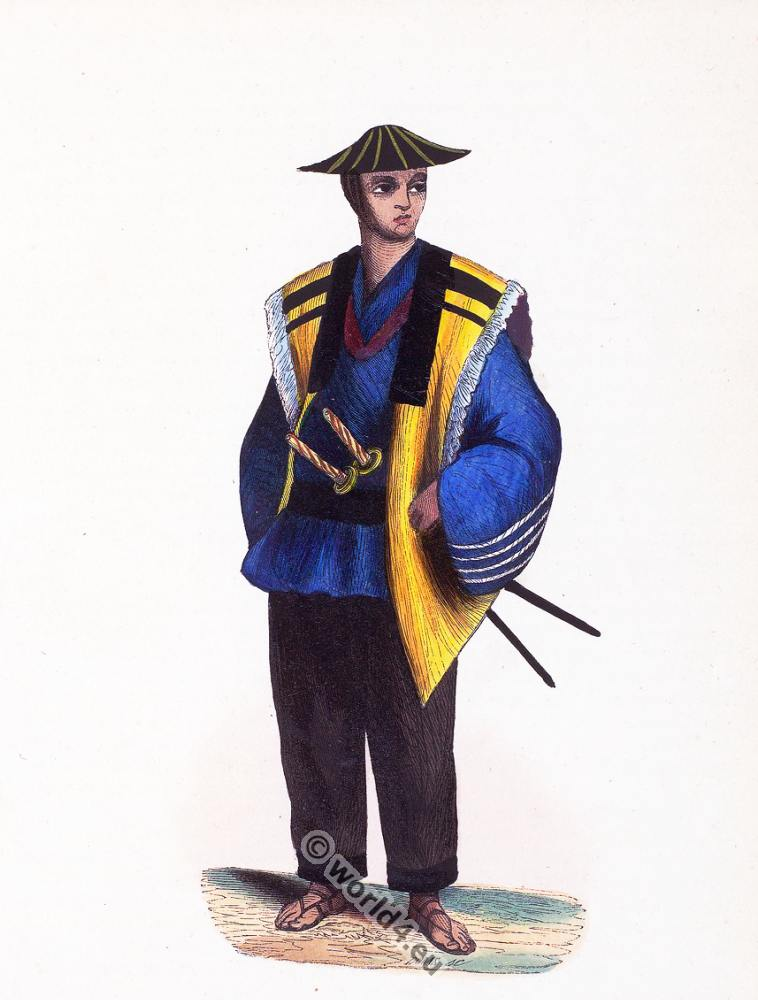 Japanese, soldier, Japan, Asia, costumes, Auguste Wahlen