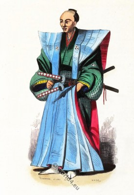 Japanese in ceremonial garb and swords. Traditional Japan clothing. Asian warrior dress