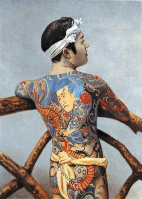 Japanese full body tattoo. Traditional Japan Tattoos