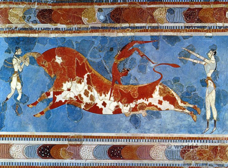 Bull-leaping fresco. Palace of Knossos. Ancient Minoan jewelry. Antique greek culture.