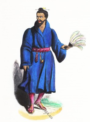Nansei Islands Resident. Lile Loo-choo, Ryukyu islands costumes. Traditional Lewchewan costume. Asian dress