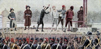 The execution of French King Louis XVI. . French revolution history.
