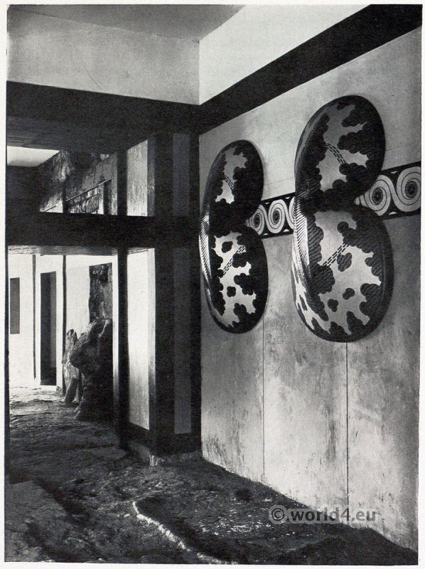 Ancient Greek shields. Hall of the Double Axes. Palace of Knossos interior. Minoan culture architecture.