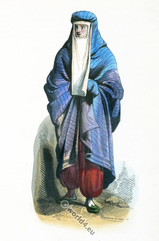 woman, burka, Tschador, Iran, Persia, Persian, lady, clothing, dress, Asia, costumes, Auguste Wahlen