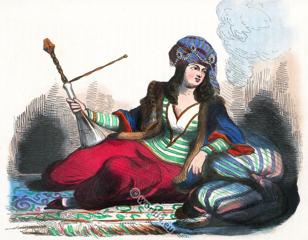 Iran, Persia, Persian, lady, clothing, dress, Asia, costumes, Auguste Wahlen