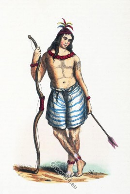 Formosan costume. Traditional Taiwanese aborigines clothing. Ancient Asia tribe tattoo