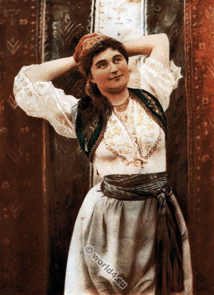 Traditional, Turkish, woman, indoor, costume, Constantinople, Ottoman, empire,