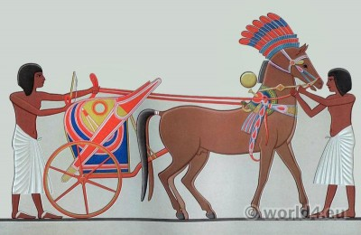 Ancient Egypt chariot. Egyptian costumes and weapons.