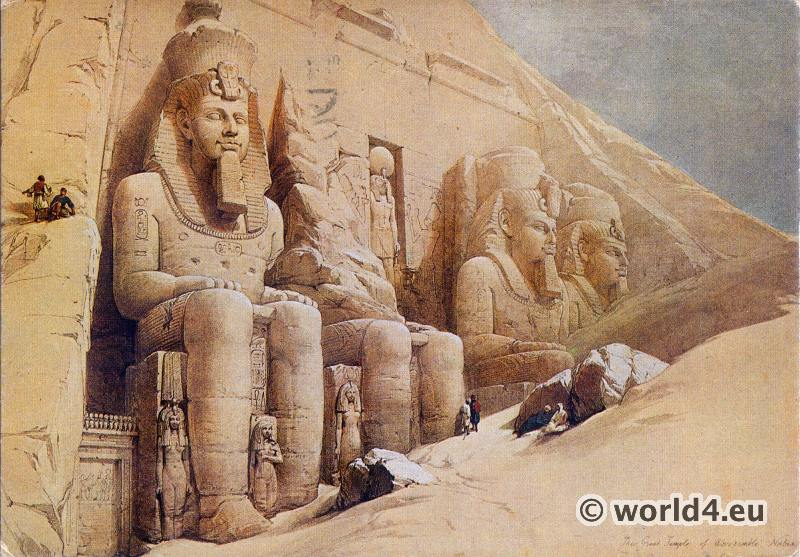 Ancient Egypt sculptures. Colossal figures. Great temple of Abu Simbel. David Robert