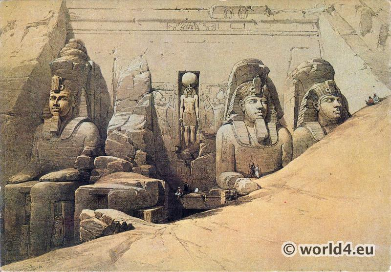 Ancient Egypt sculptures. Great temple of Abu Simbel. David Robert
