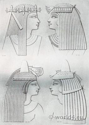 Ancient Egypt headdresses of ladies of various epochs.