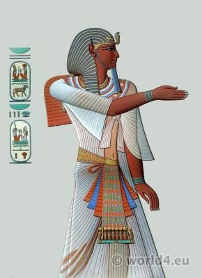 Ancient Egypt Pharaoh costume. Egyptian king Merenptah crown and dresses