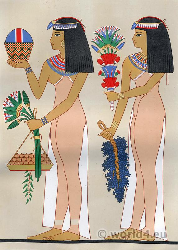 Necropolis, Thebes, Ancient, Egypt, costumes, Egyptian, decoration, paintings